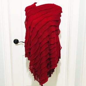 Sweaters - ❤️ Red Ruffle Fringe Poncho